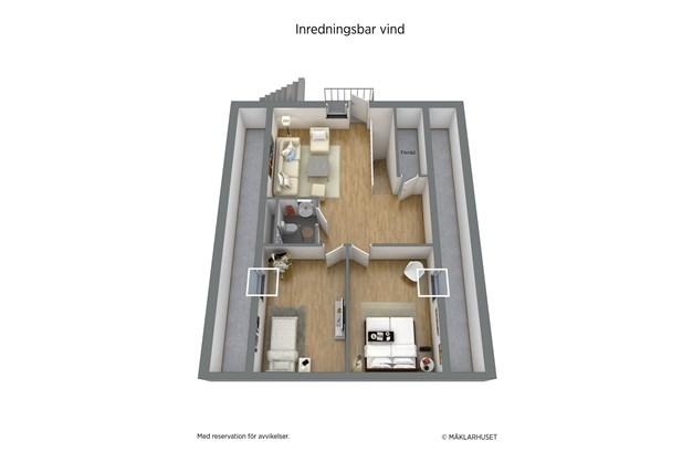 Inredningsbart övre plan med möjlighet till ytterligare 3 rum och badrum.