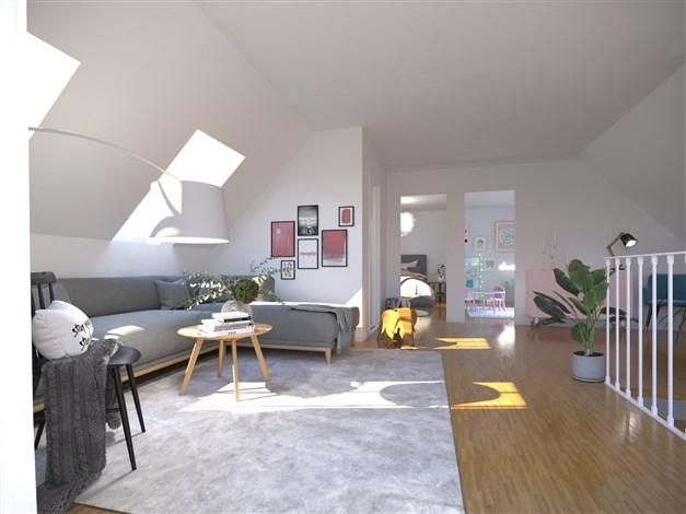 Rendering / illustrationsbild: Inredningsbar vind med möjlighet till ytterligare 3 rum och badrum