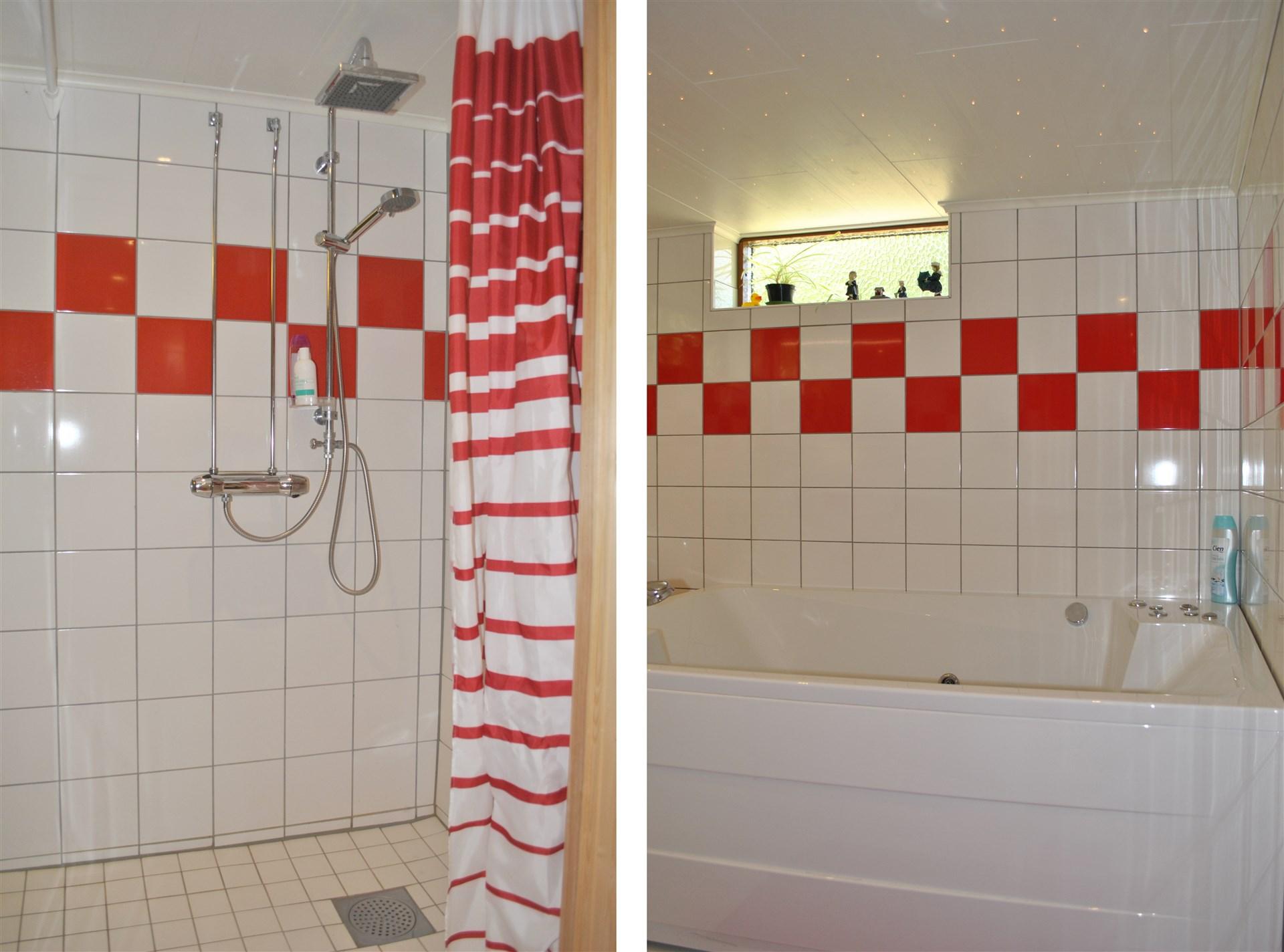 Ny relaxavdelning i källaren med dusch och bubbelbad med stjärnhimmel.