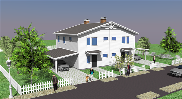 Förslag på parhus i två plan