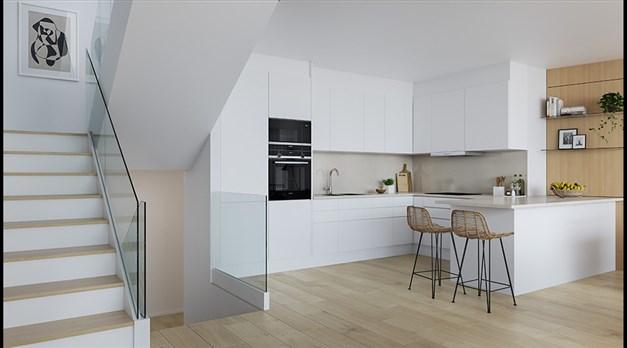 Illustrationsbild - Stilrent kök och modern trappa med glasräcke