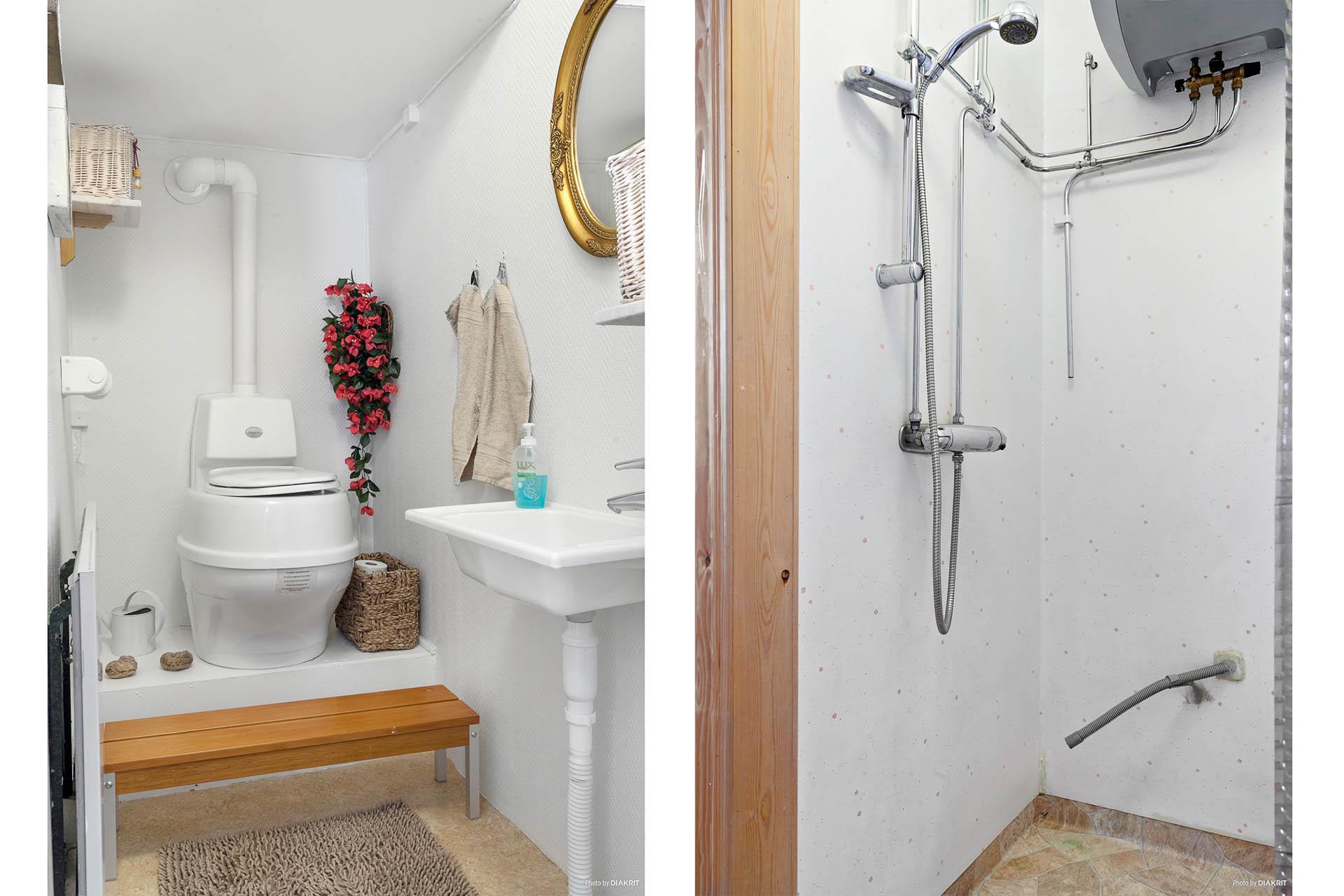 Tvättrum och duschrum intill hall.