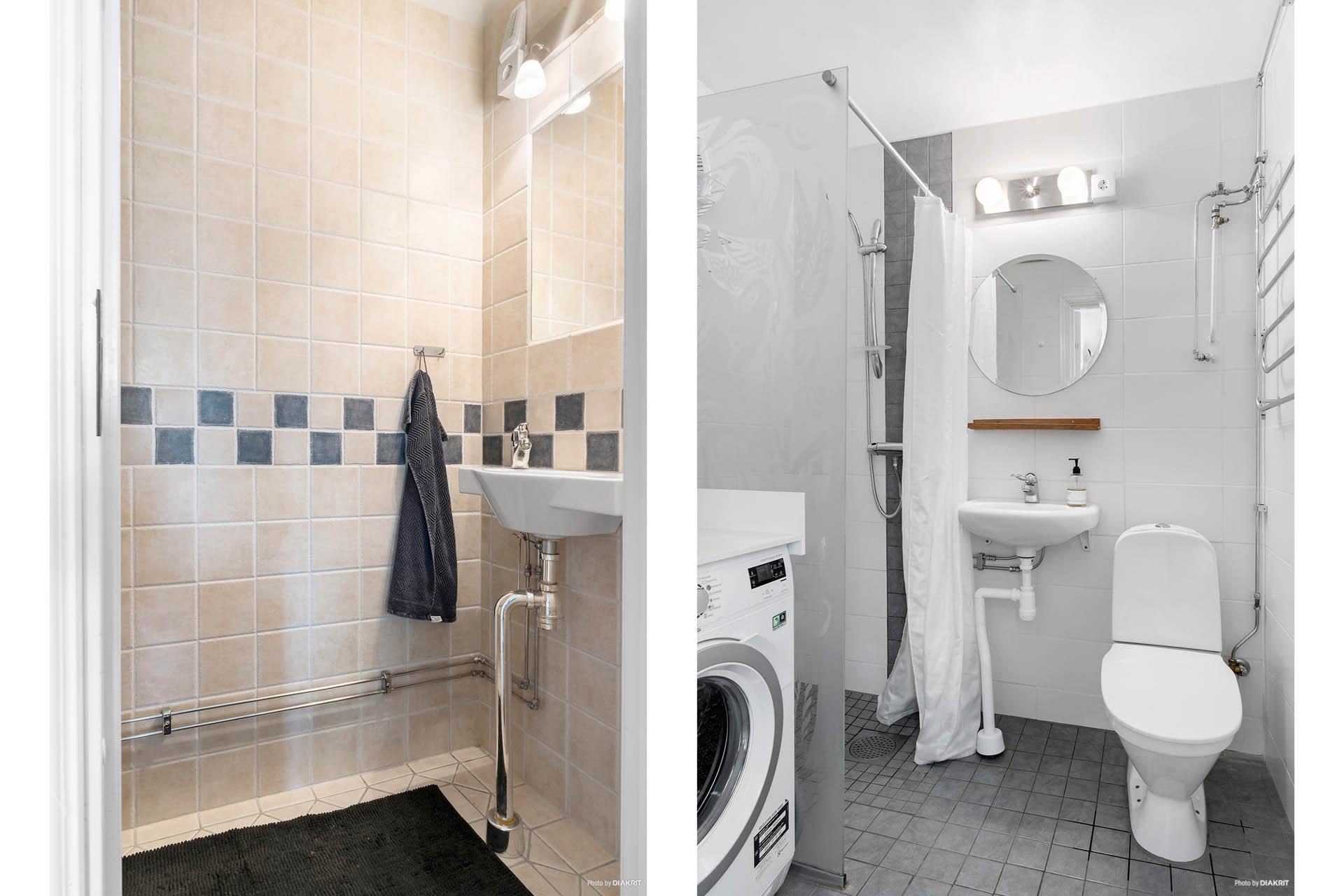 Separat toalettrum med extra toalett och renoverat duschrum