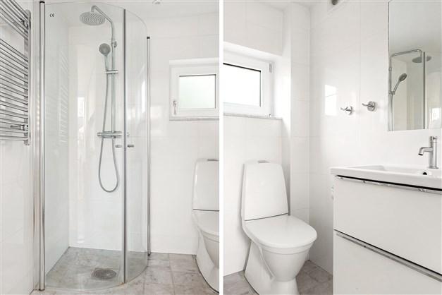 Fräscht badrum med duschplats och fönster