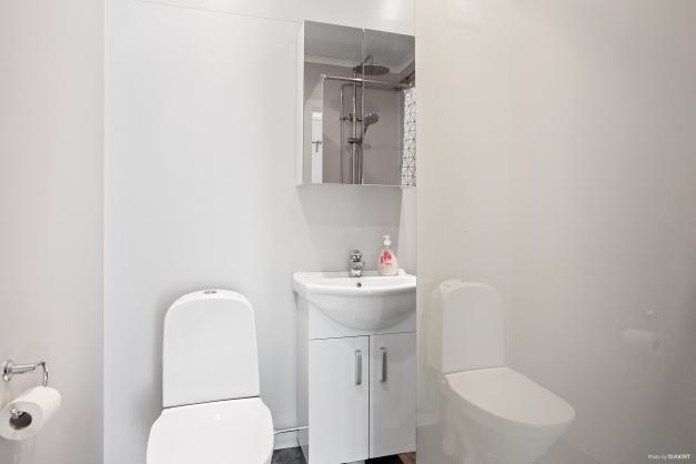 Badrum utrustat med duschvägg i glas, wc samt handfat med kommod - Entréplan
