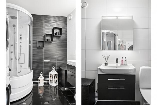 Helkaklat badrum med golvvärme och massagedusch