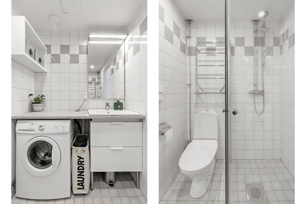 Tvättmaskin i badrum