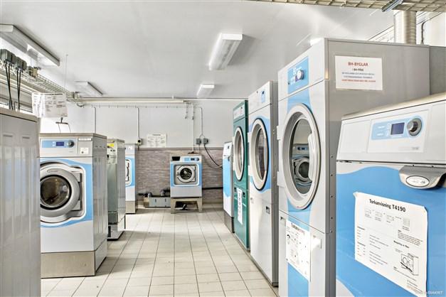 Stor tvättstuga med automatdispenserat tvättmedel