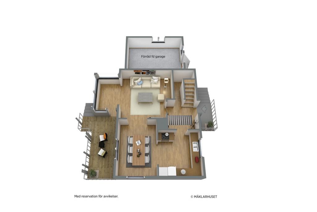 Entréplan med kök och sällskapsrum