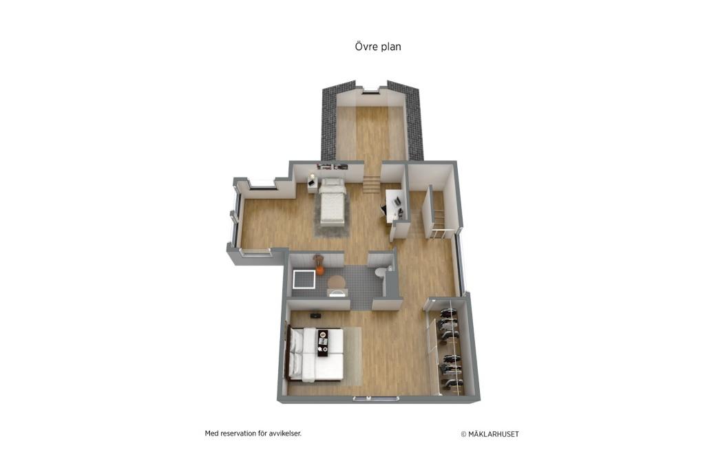 Vindsplan med två sovrum, wc och sovloft ovanför sovrum på mellanplan