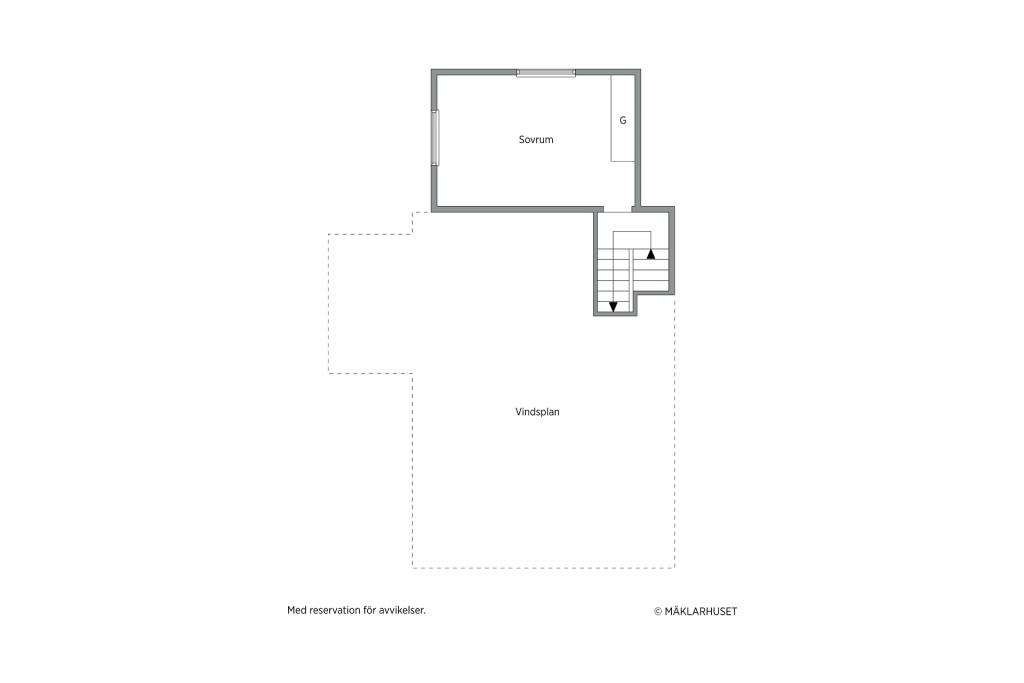 Mellanplan med sovrum ovanpå garage
