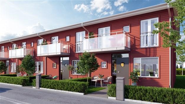 Radhusen är röda och kedjehusen är gula. Här bor man naturnära och lugnt i Kristianstads nya stadsdel!