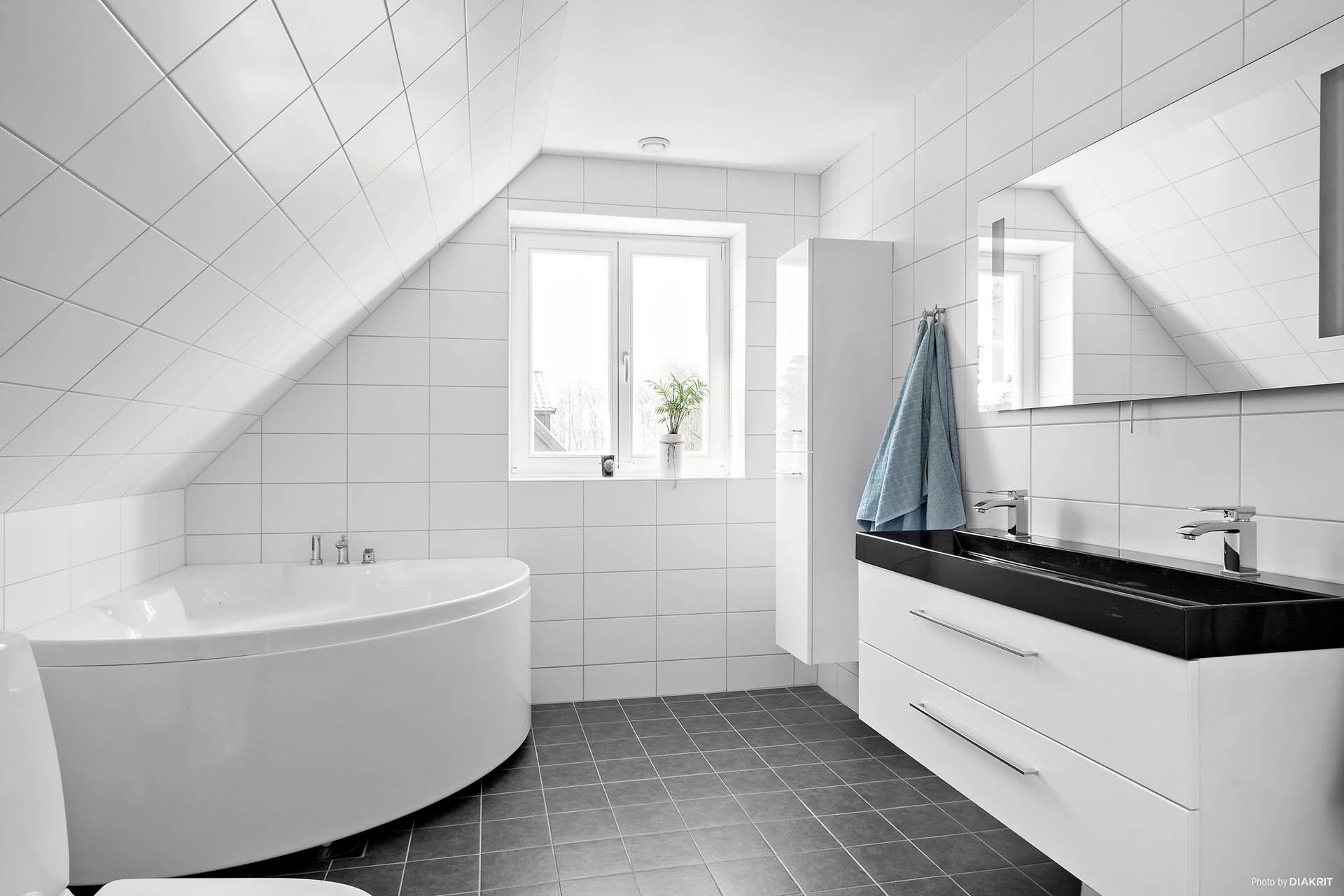 Modernt, fräscht badrum med dusch, dubbelvask och badkar.