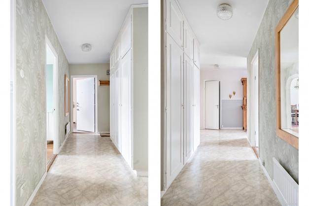 Hallen har förvaring i form av tre garderober