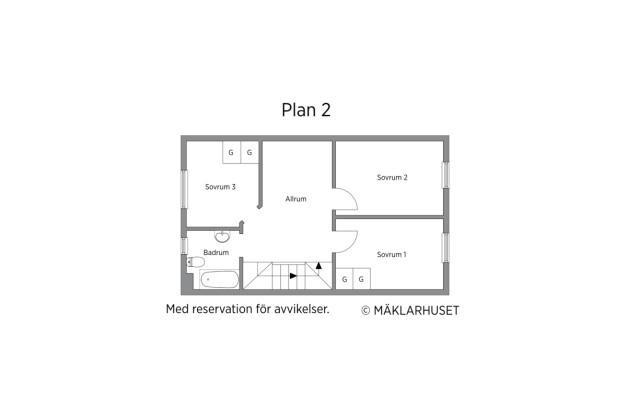 Mellanplan med 3 sovrum, allrum och badrum