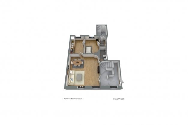 Planskiss - möblerad 3D entréplan