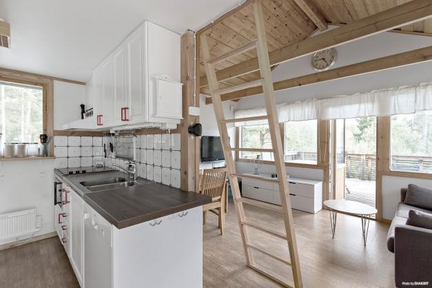 Kök och vardagsrum i gäststugan