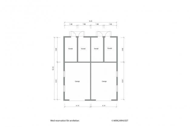 Planritning garage och förrådsdel.