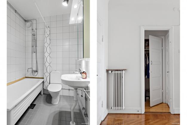 Badrummet i dörr till höger och garderober