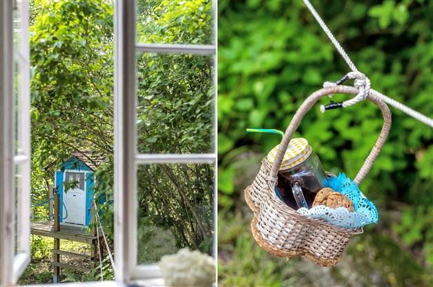 Fika leverans till kojan utanför köksfönstret