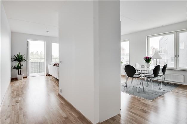 De stora och många fönstren bidrar till att lägenheten badra i ljus oavsett årstid.