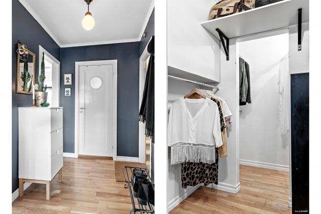 Första plan - entréhall och klädkammare för bra förvaring