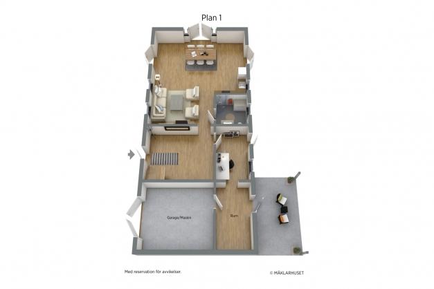 Planritning plan 1, 3 D