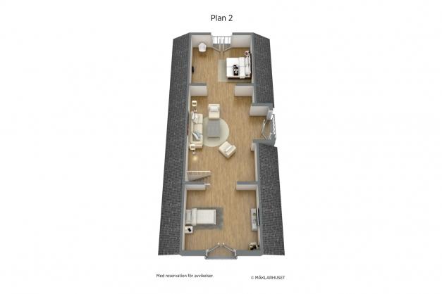 Planritning plan 2, 3 D