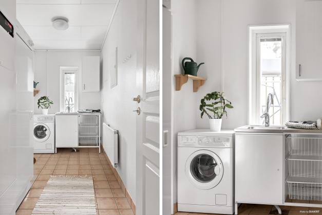 Intill köket finner vi pannrum samt tvättstugan och groventrén