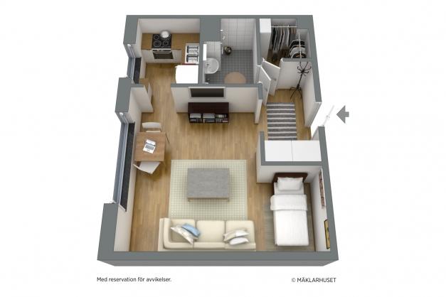 Möblerad 3D-planlösning