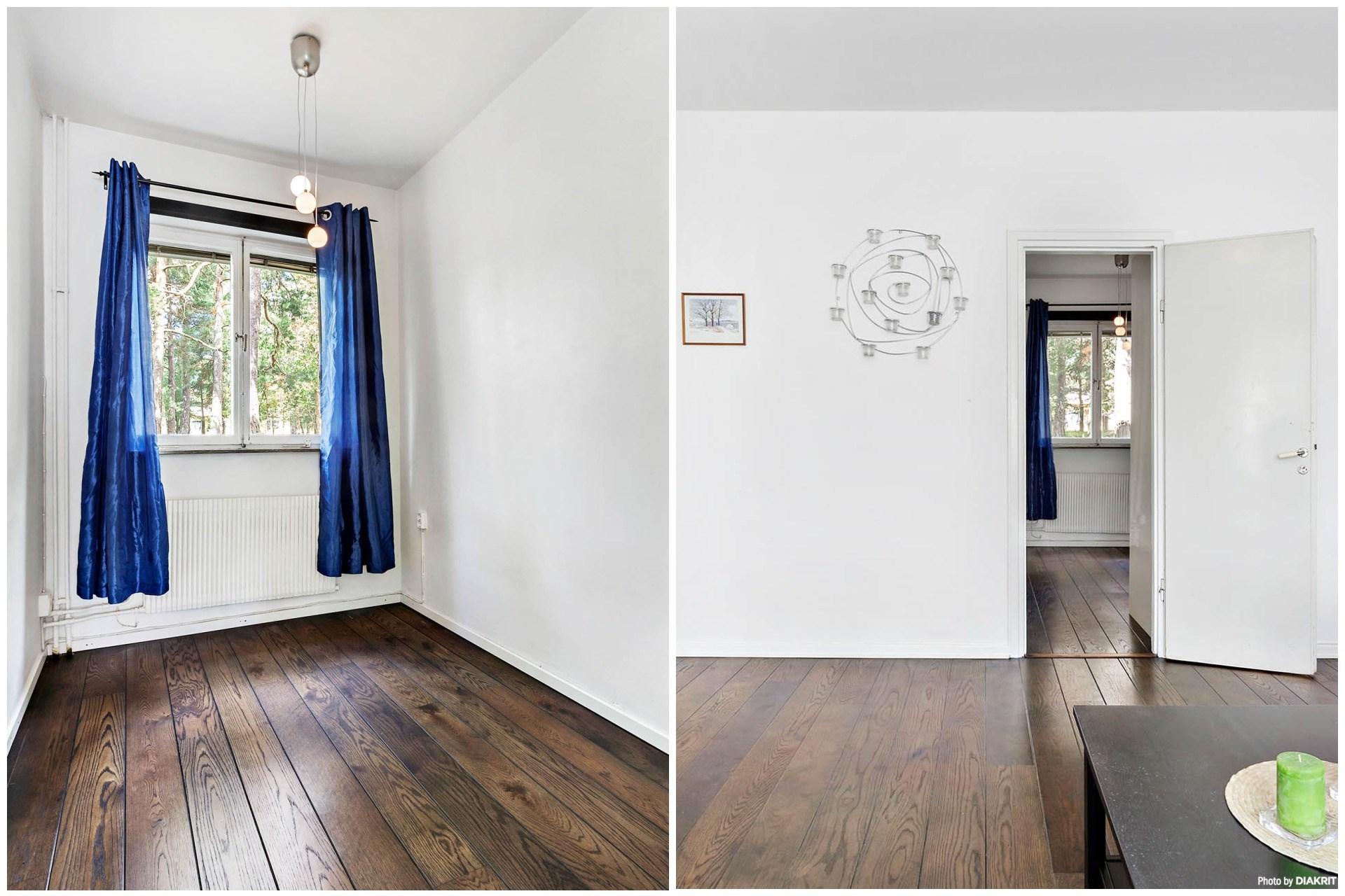 Sovrum med plats för 160 cm säng med nattduksbord, möjlighet att sätta in garderob.