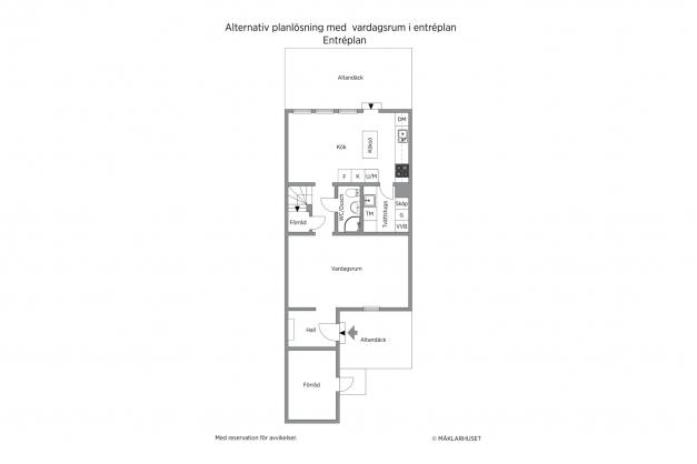 Alternativ planlösning med 4 sovrum i övre plan och vardagsrum i entréplan