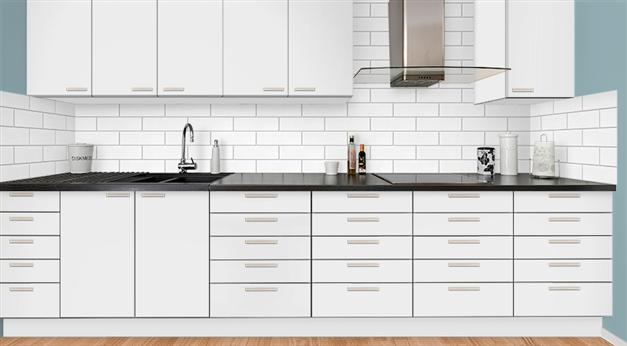 Illustration med exempel av köket i vitt utförande