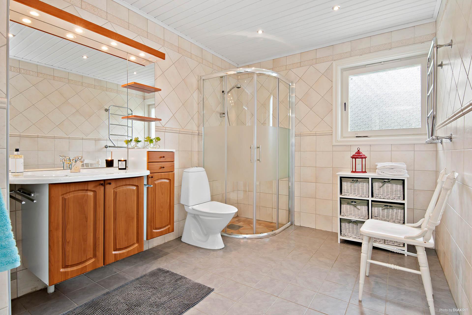 Renoverat badrum med bl.a golvvärme