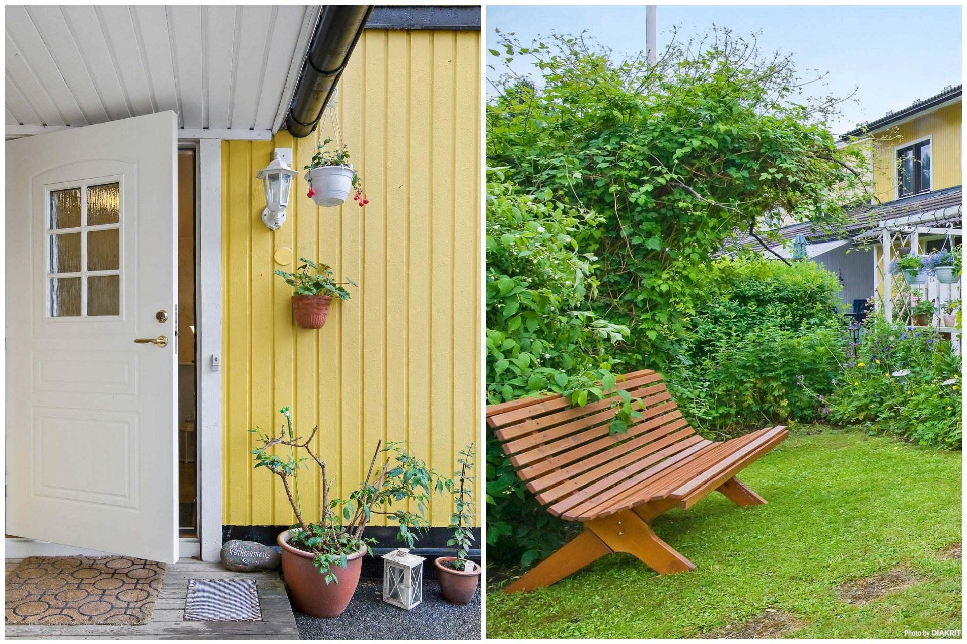 Trevlig entré och härlig trädgård