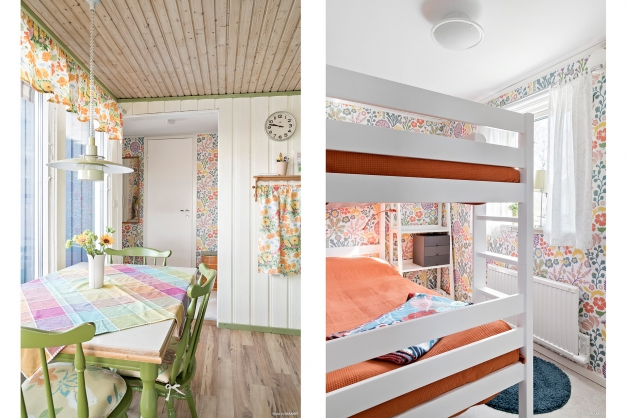 Bortom köket finns sovrumsdelen med liten hall, badrum och 2 sovrum varav det ena med våningssäng