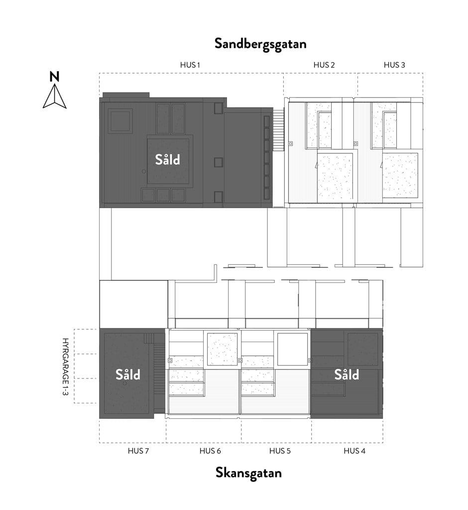 Husens placering i kvarteret / sålda enheter