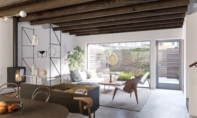 Visualisering av vardagsrum sett från kök, Lilla Doppet med kamin som tillval