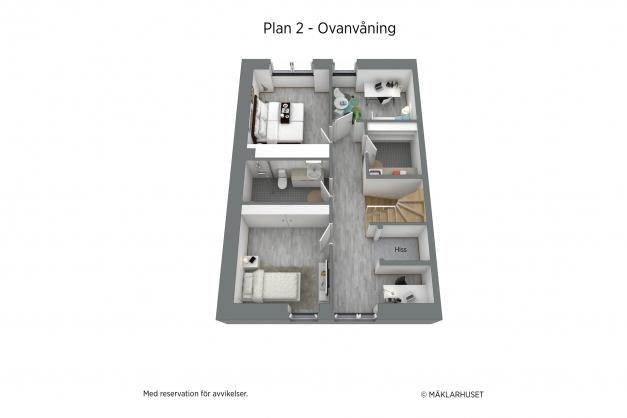 Möblerad 3D-planskiss / observera att skalor, ytskikt och inredning inte är exakta återgivelser av verkliga förhållanden.