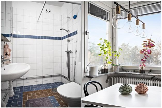 Badrummet är helkaklat med klinkergolv - Detaljbild vardagsrum