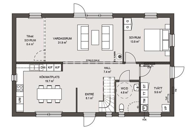 Planlösning Nedre Våningen