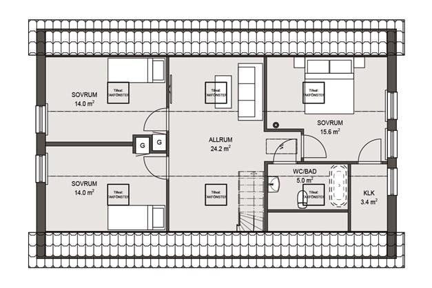 Planlösning Övre våningen.