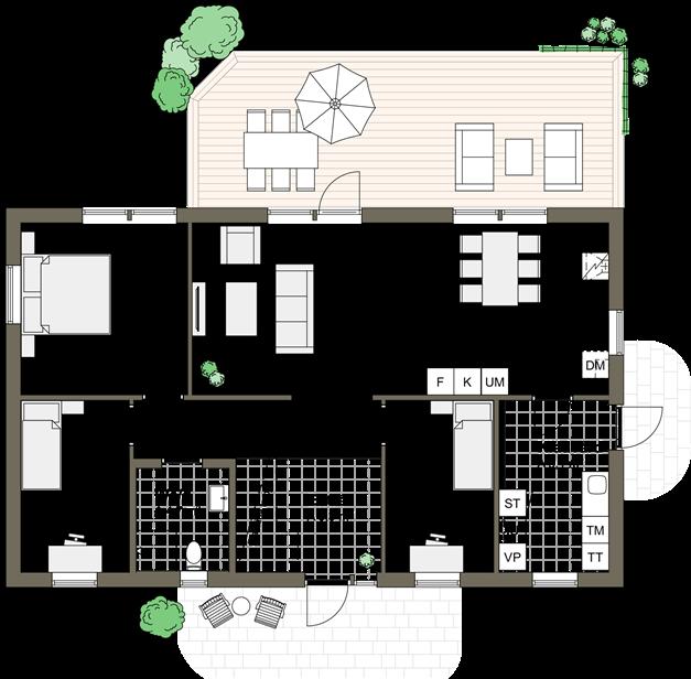 PLANLÖSNING - Förslag på planlösning för 1-plansvilla