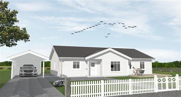 """På bilden ovan syns husmodellen """"A136"""" från XN-villan som är ett förslag på husmodell som hade passat på tomten. Linneskogens Byggdesign har illustrerat bilden. Vill ni ha hjälp med att illustrera och rita upp ert framtida hus? Kontakta Christoffer P"""
