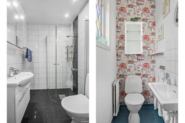 Duschrum på entréplan och wc på övre plan