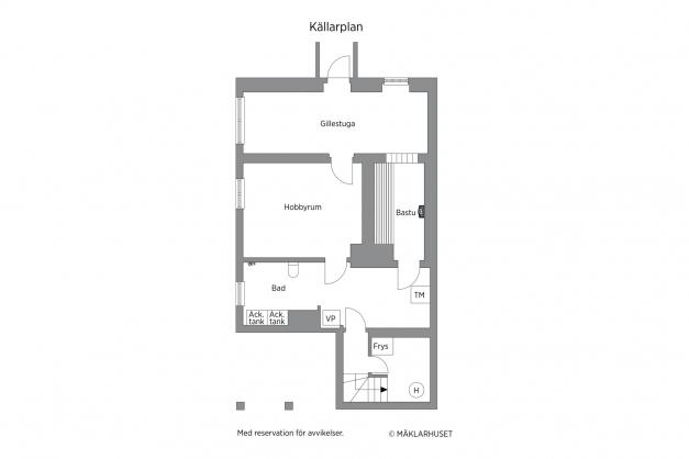 Planlösning källare (avvikelser kan förekomma och skalenlighet garanteras ej). Tidigare gillestuga (nu vedförråd/förråd