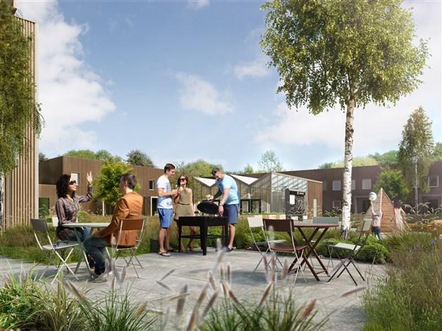 Utemiljön ska uppmuntra till möten och liv mellan husen. Det kommer finnas fina lekplaster, en grillplats för grannträff på sommarkvällarna...