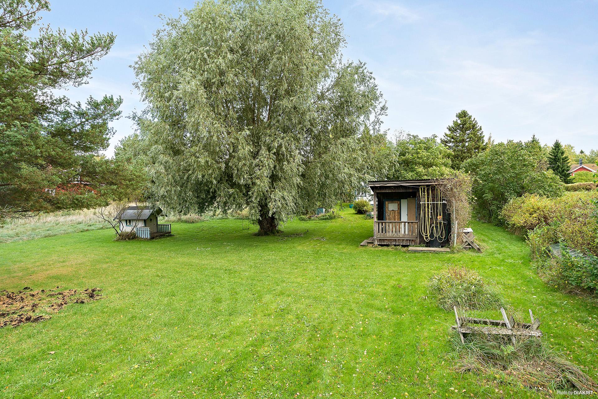 Stor och tillgänglig trädgårdstomt som gränsar till allmänning