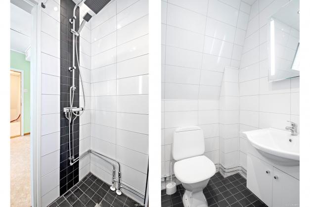 Helkaklat duschrum i lägenhet på övre plan