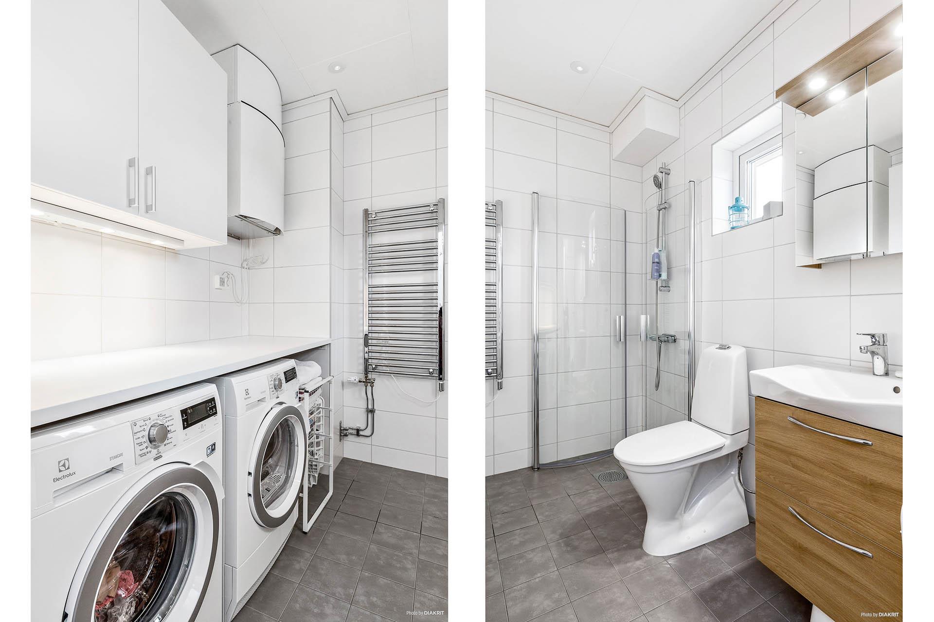 Badrum med kombinerad tvättavdelning
